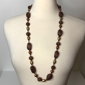 """Jewelry - Wood and Plastic Bead Necklace Approximately 34"""""""